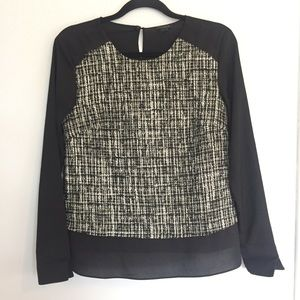 Ann Taylor Black Gold Tweed Front Blouse